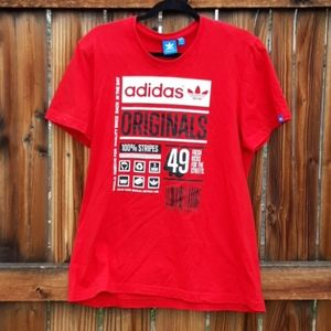 Adidas short sleeve t shirt red mens size large